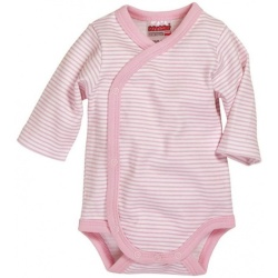 Schnizler romper Wrap Body Basic junior lichtroze wit maat 50
