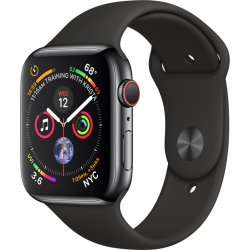 Apple Watch Series 4 GPS Cell 44mm zwart staal zw. band