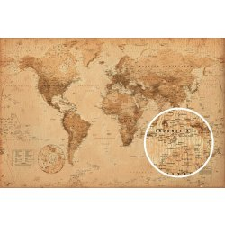 GBeye World Map Antique Style Poster 91 5x61cm