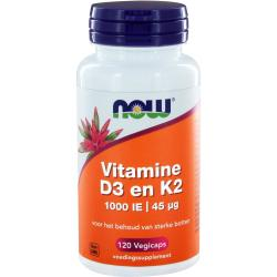 NOW D3 1000 IE Vitamine K2 Capsules