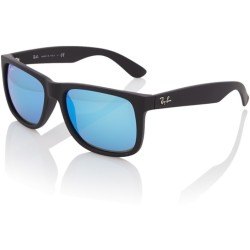 Ray Ban RB4165 622 55 Justin (Color Mix) zonnebril Zwart Blauw Spiegel 55mm